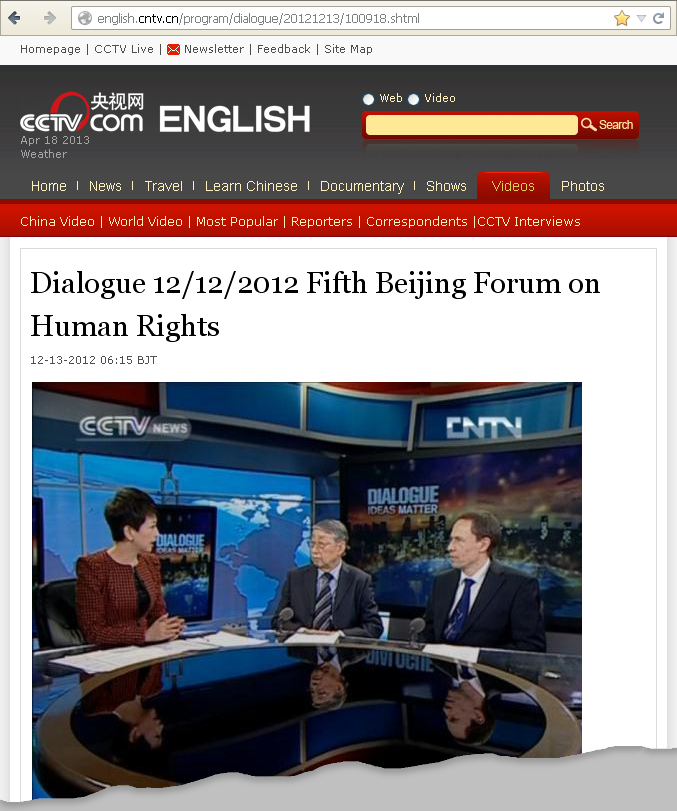 Otto Kolbl CCTV news Dialogue 2012 12 12