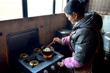 Tibet: A small dumplings and noodle soup restaurant in Langmusi, Aba Tibetan Autonomous Prefecture, Sichuan.