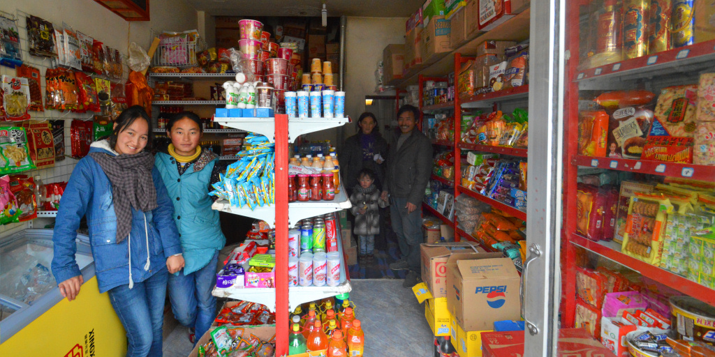 Tibet: Small one-room food store in Langmusi, Sichuan province.