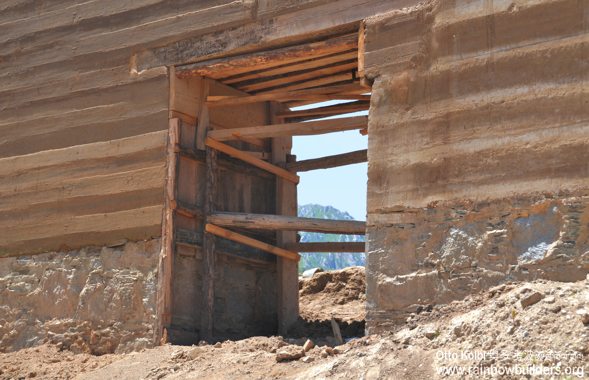 You can still see the various layers of rammed earth.