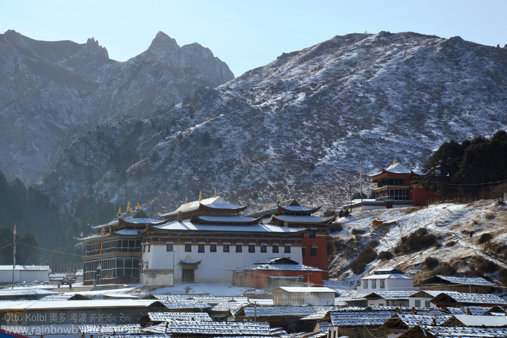 The monasteries also get a thin blanket of white snow.