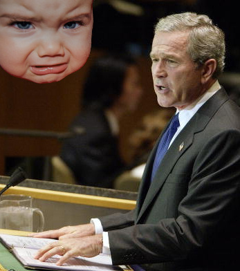 George W. Bush and an angry baby