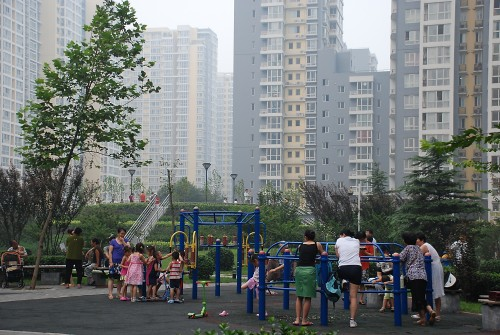 A playground in a modern residential neighborhood in Beijing, China