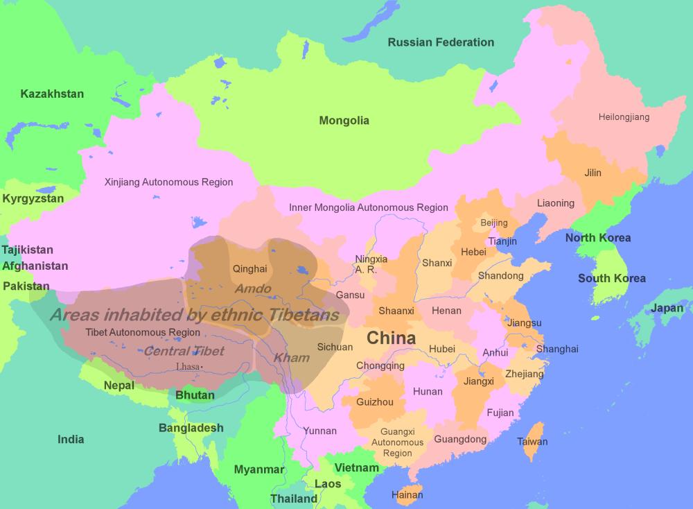 Landkarte Asien.Karte Der Tibetischen Gebiete In Asien