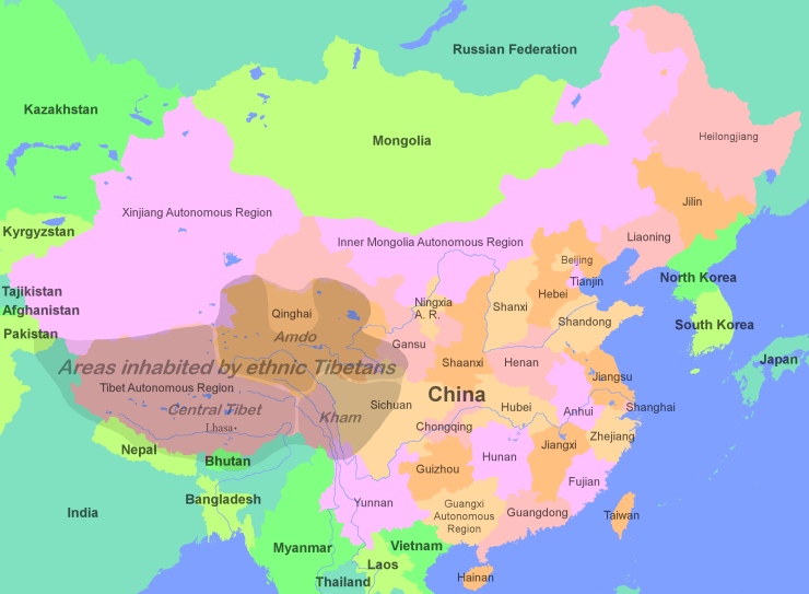 Tibet: Map of the areas inhabited by ethnic Tibetans in China and surrounding countries.