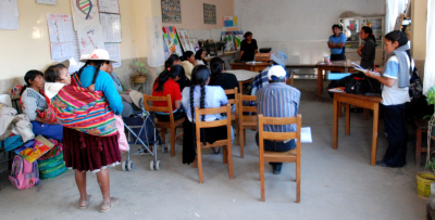 Workshop agains violence for the parents of the CEV NGO school in Cochabamba, Bolivia.
